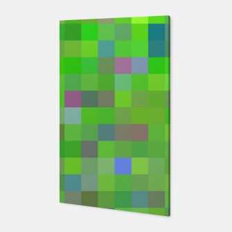 geometric square pixel pattern abstract background in green blue pink Canvas thumbnail image
