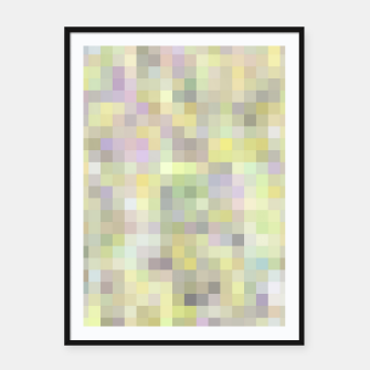 geometric square pixel pattern abstract background in yellow and pink Framed poster Bild der Miniatur