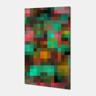 Miniatur geometric square pixel pattern abstract background in green yellow pink Canvas, Live Heroes