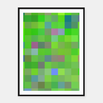 geometric square pixel pattern abstract background in green blue pink Framed poster thumbnail image