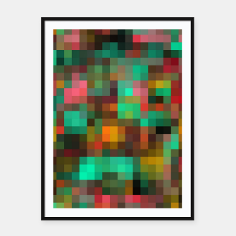 Miniatur geometric square pixel pattern abstract background in green yellow pink Framed poster, Live Heroes