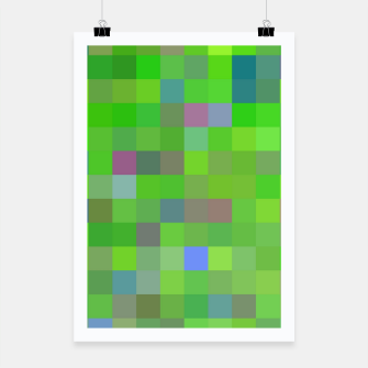 geometric square pixel pattern abstract background in green blue pink Poster thumbnail image