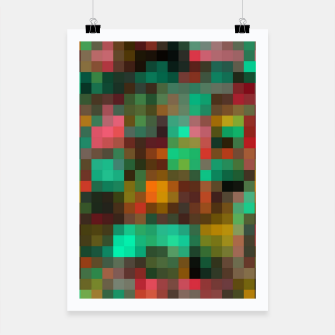 Miniatur geometric square pixel pattern abstract background in green yellow pink Poster, Live Heroes