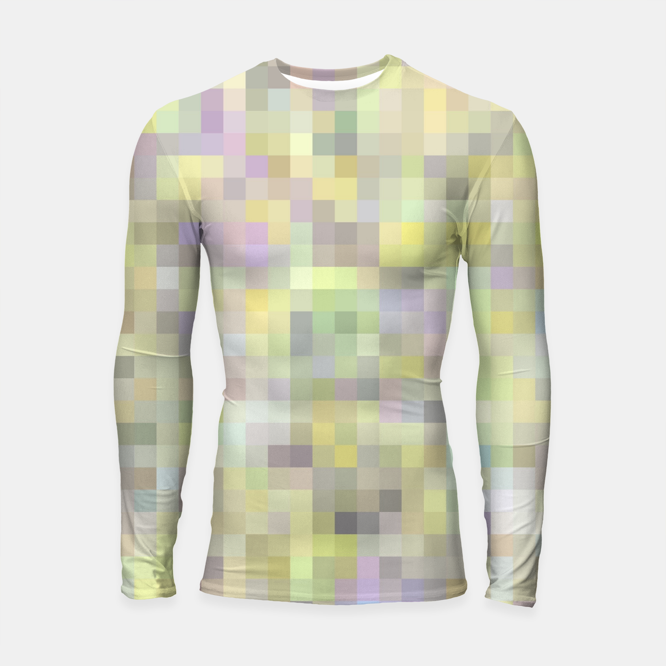 Foto geometric square pixel pattern abstract background in yellow and pink Longsleeve rashguard  - Live Heroes