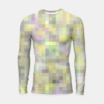 Miniatur geometric square pixel pattern abstract background in yellow and pink Longsleeve rashguard , Live Heroes