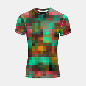 Miniatur geometric square pixel pattern abstract background in green yellow pink Shortsleeve rashguard, Live Heroes