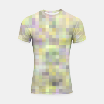 Miniatur geometric square pixel pattern abstract background in yellow and pink Shortsleeve rashguard, Live Heroes