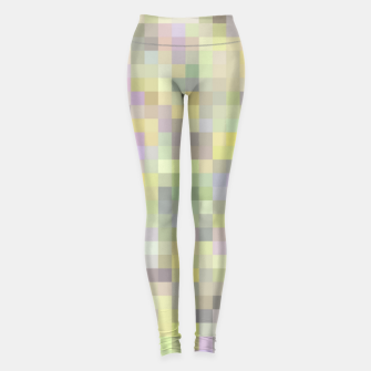 Miniatur geometric square pixel pattern abstract background in yellow and pink Leggings, Live Heroes