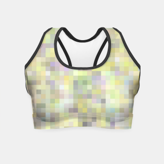 geometric square pixel pattern abstract background in yellow and pink Crop Top Bild der Miniatur