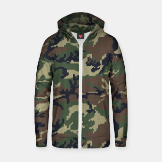 Thumbnail image of Knitted camo sweater Zip up hoodie, Live Heroes