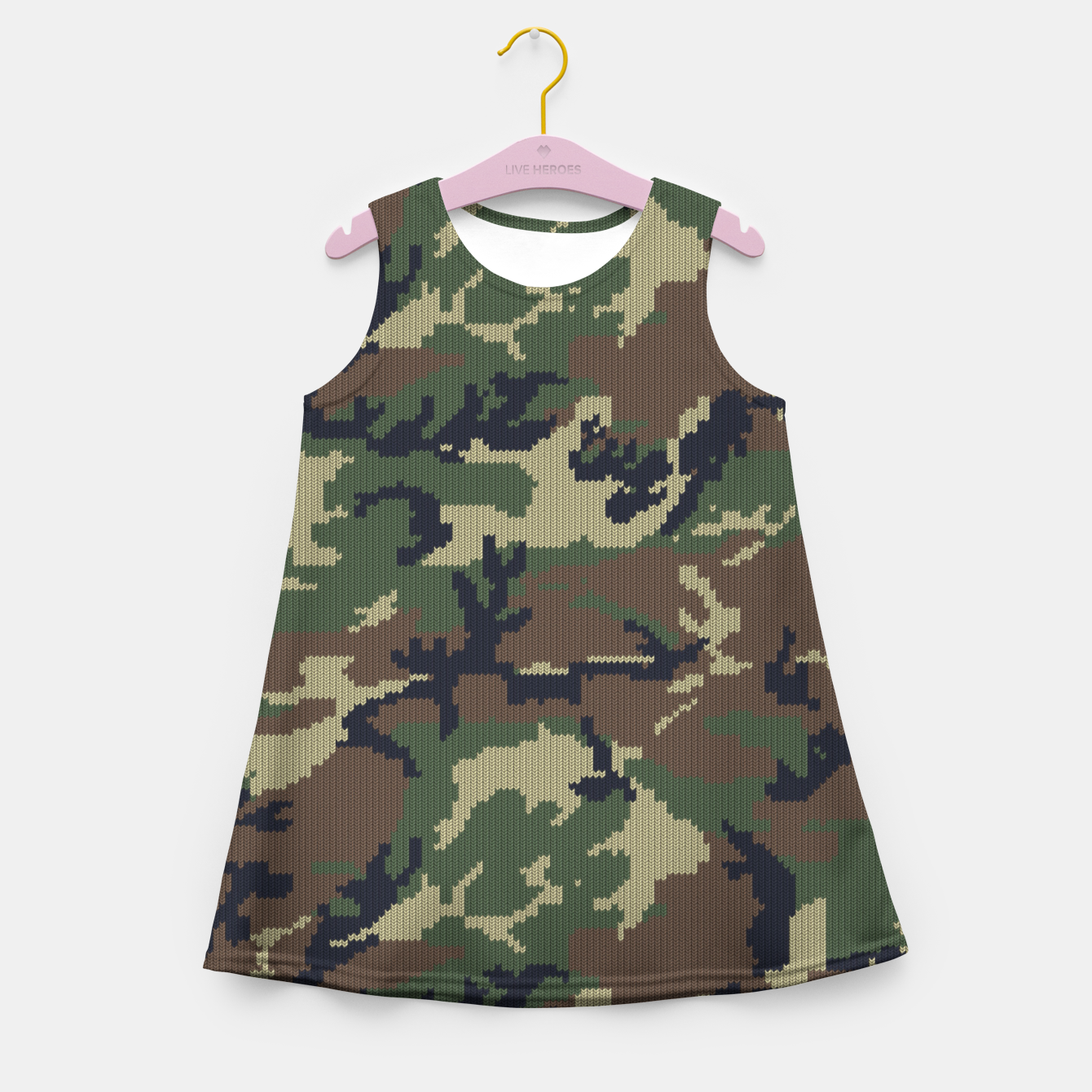 Image of Knitted camo sweater Girl's summer dress - Live Heroes