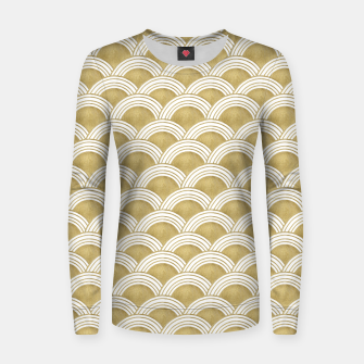 Japanese Wave Gold Glam #1 #decor #art  Frauen sweatshirt obraz miniatury