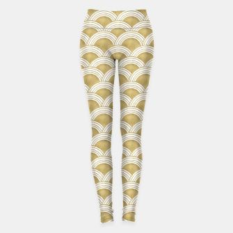 Japanese Wave Gold Glam #1 #decor #art  Leggings obraz miniatury