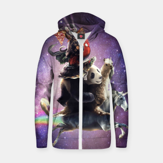 Thumbnail image of Cat Riding Zip up hoodie, Live Heroes