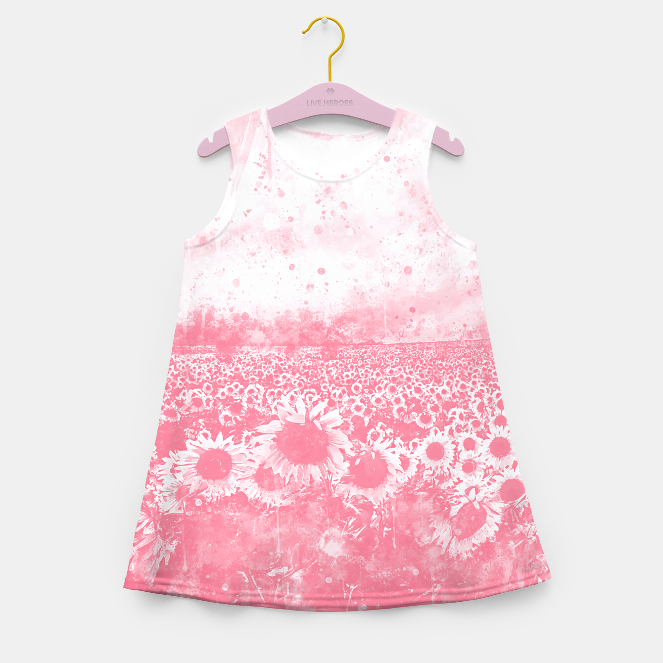 Image of abstract sunflowers wspw Girl's summer dress - Live Heroes