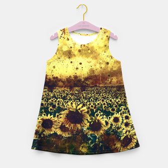 abstract sunflowers wsfn Girl's summer dress miniature