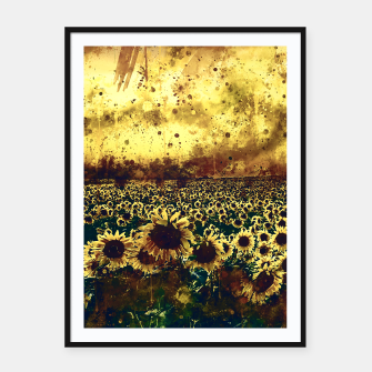Thumbnail image of abstract sunflowers wsfn Framed poster, Live Heroes