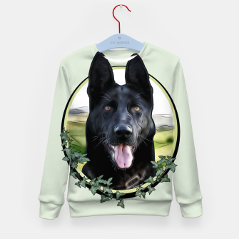 Thumbnail image of Black German Shepherd - Graphic Style Kindersweatshirt, Live Heroes