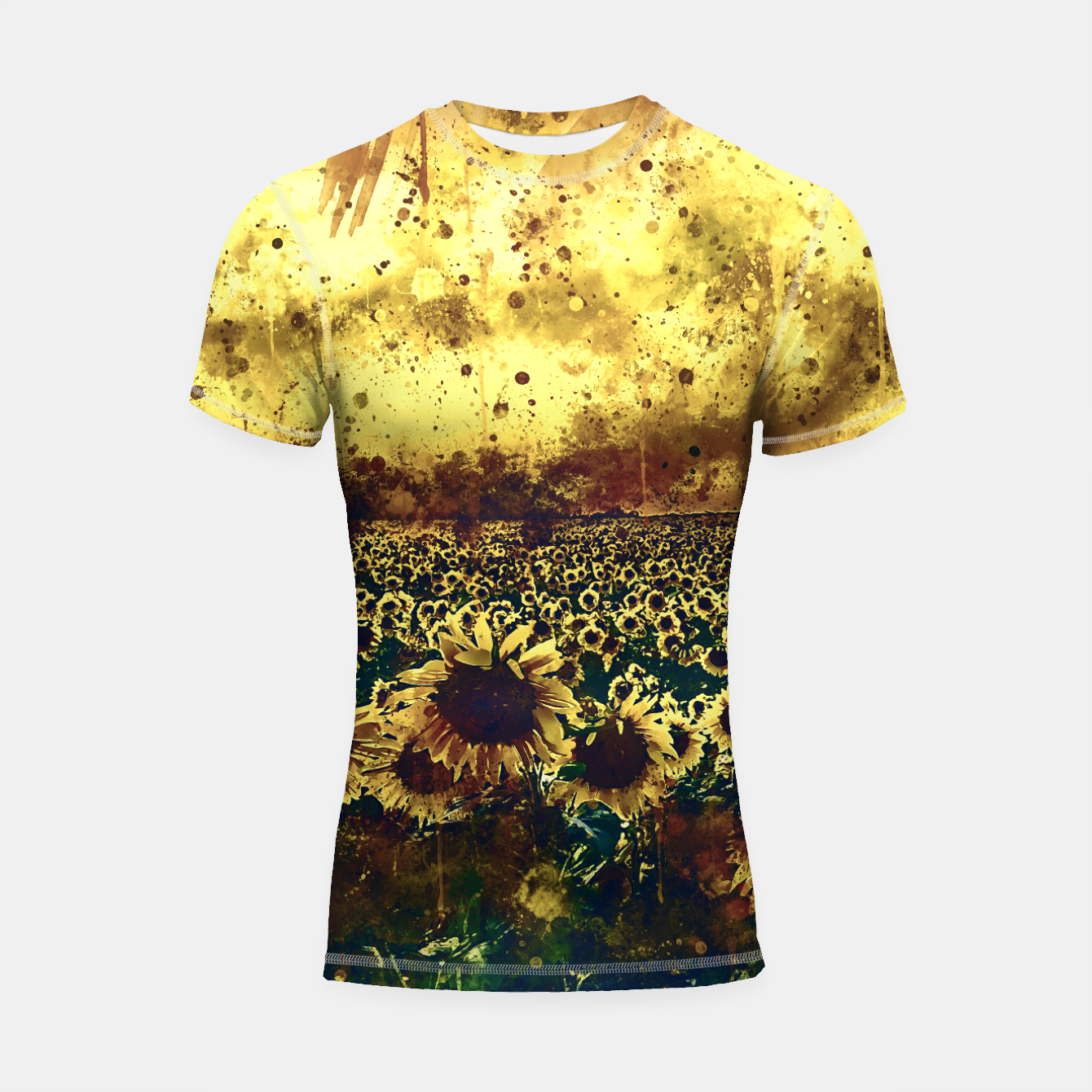 Image of abstract sunflowers wsfn Shortsleeve rashguard - Live Heroes