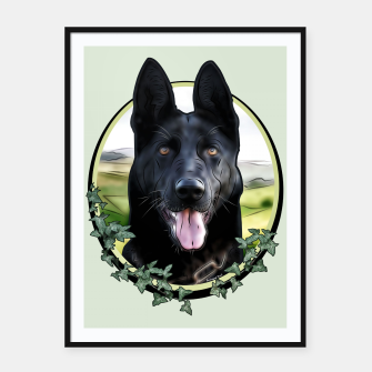 Thumbnail image of Black German Shepherd - Graphic Style Plakat mit rahmen, Live Heroes