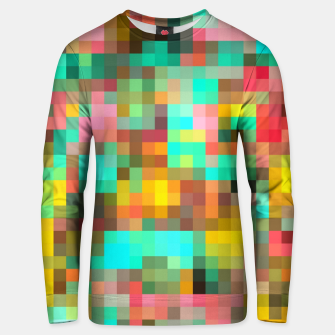 Miniatur geometric square pixel pattern abstract in green yellow pink Unisex sweater, Live Heroes