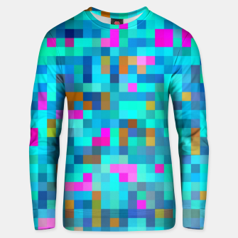 Miniatur geometric square pixel pattern abstract in blue green pink Unisex sweater, Live Heroes