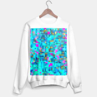 Thumbnail image of geometric square pixel pattern abstract in blue green pink Sweater regular, Live Heroes