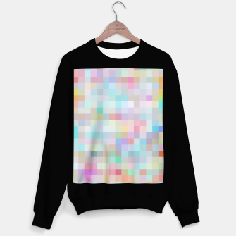 Thumbnail image of geometric square pixel pattern abstract in blue and pink Sweater regular, Live Heroes