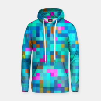Thumbnail image of geometric square pixel pattern abstract in blue green pink Hoodie, Live Heroes