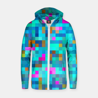 Thumbnail image of geometric square pixel pattern abstract in blue green pink Zip up hoodie, Live Heroes