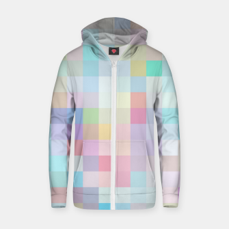 Thumbnail image of geometric square pixel pattern abstract in blue and pink Zip up hoodie, Live Heroes