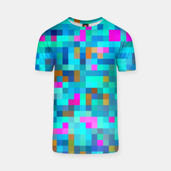 Thumbnail image of geometric square pixel pattern abstract in blue green pink T-shirt, Live Heroes