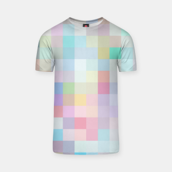 Thumbnail image of geometric square pixel pattern abstract in blue and pink T-shirt, Live Heroes