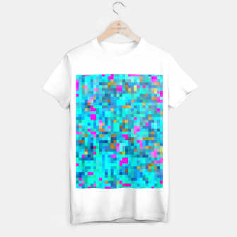 Thumbnail image of geometric square pixel pattern abstract in blue green pink T-shirt regular, Live Heroes