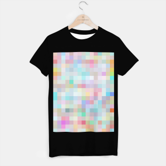 Thumbnail image of geometric square pixel pattern abstract in blue and pink T-shirt regular, Live Heroes