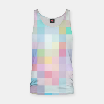Thumbnail image of geometric square pixel pattern abstract in blue and pink Tank Top, Live Heroes