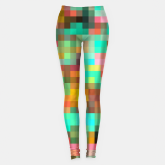 Miniatur geometric square pixel pattern abstract in green yellow pink Leggings, Live Heroes