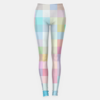 Thumbnail image of geometric square pixel pattern abstract in blue and pink Leggings, Live Heroes