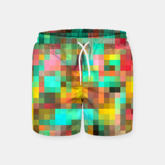 Miniatur geometric square pixel pattern abstract in green yellow pink Swim Shorts, Live Heroes