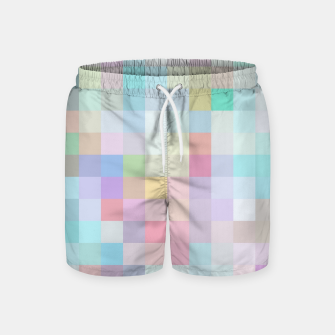 Thumbnail image of geometric square pixel pattern abstract in blue and pink Swim Shorts, Live Heroes