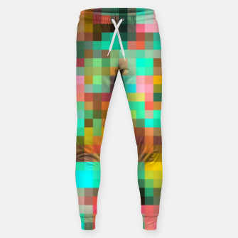 Miniatur geometric square pixel pattern abstract in green yellow pink Sweatpants, Live Heroes