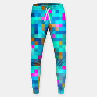 Thumbnail image of geometric square pixel pattern abstract in blue green pink Sweatpants, Live Heroes