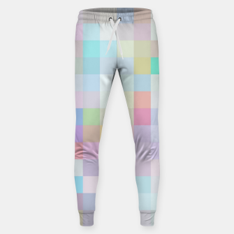 Thumbnail image of geometric square pixel pattern abstract in blue and pink Sweatpants, Live Heroes