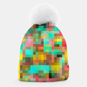 Miniatur geometric square pixel pattern abstract in green yellow pink Beanie, Live Heroes