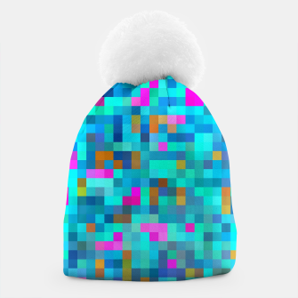 Thumbnail image of geometric square pixel pattern abstract in blue green pink Beanie, Live Heroes