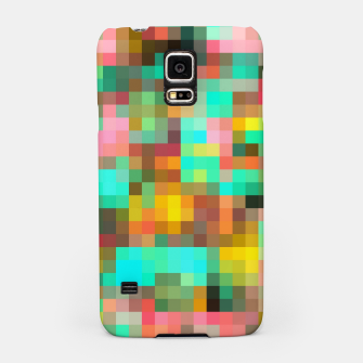 Miniatur geometric square pixel pattern abstract in green yellow pink Samsung Case, Live Heroes