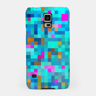 Thumbnail image of geometric square pixel pattern abstract in blue green pink Samsung Case, Live Heroes
