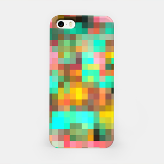 Miniatur geometric square pixel pattern abstract in green yellow pink iPhone Case, Live Heroes