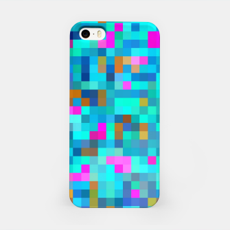 Thumbnail image of geometric square pixel pattern abstract in blue green pink iPhone Case, Live Heroes