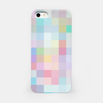 Thumbnail image of geometric square pixel pattern abstract in blue and pink iPhone Case, Live Heroes